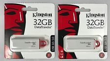 Two 2 New Kingston 32GB DataTraveler G4 USB 3.0 2.0 Flash Jump Thumb Drive