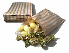 "100 BROWN KRAFT CANDY STRIPE PAPER PARTY SWEET BAGS 5"" x 7"" - CANDY CART WEDDING"