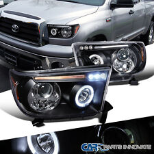 Toyota 07-13 Tundra Sequoia LED Halo Projector Headlights Lamp Black