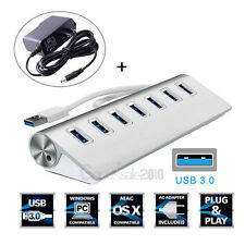 7 Port Aluminum USB 3.0 HUB 5Gbps High Speed +AC Power Adapter For PC Laptop Mac