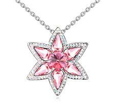 18K Gold GP Swarovski Element Crystal Star Flower Pendant Necklace Red