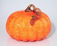 "New Large 11"" Hand Blown Art Glass Orange Yellow Pumpkin Sculpture Fall Harvest"