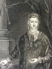 Reine Jeanne Ire de Navarre gravure sur cuivre sur vergé  XVIIIe