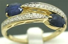 Blue Sapphire & 22 Diamond 9ct 9K Solid Gold Ring - SZ N/7.0 - 30 Day Returns