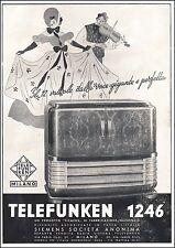 PUBBLICITA' RADIO TELEFUNKEN MODELLO 1296 12V BALLO DANZA MUSICA SIEMENS 1940