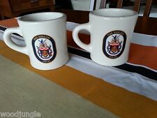 2 Vintage USS SHILOH CG 67 GUIDED MISSILE DESTROYER COFFEE MUGS U.S. NAVY SHIP