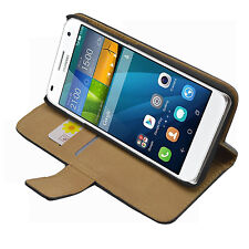 Wallet BLACK 100% BRAND GENUINE Membrane Case Cover Pouch For Huawei Ascend G7