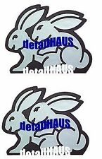 2 HUMPING BUNNY RABBIT BADGES VW GTI GL GOLF EOS AUDI BMW SEXY BUNNIES FREE SHIP