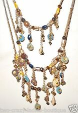 Chico's necklace multi strand beaded gold tone metal glass gemstones 3 strands