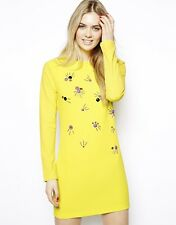 Arrogant Cat Long Sleeve Jewel Embellished Shift Party Dress Yellow Mini 12 40