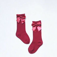 Baby Girls + Girls 3/4 Knee High Socks Satin Bow Ribbon Romany Spanish 0-4 Years