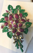 VINTAGE  1950 'S EXQUISITE BIRTHDAY BROOCH - VIOLETS  FOR APRIL  -