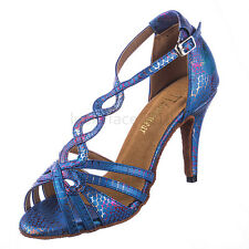 New Women Blue Snakeskin Ballroom Latin Salsa Tango Dance Shoes All Size