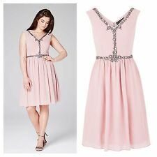 Little Mistress @ Simply Be Size 14 Dusky Rose Embellished Prom Party DRESS £68