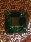 Green glass ashtray