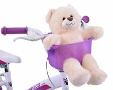 PURPLE TOY TEDDY BEAR FRONT BIKE BASKET HOLDER SEAT CHILD BOY GIRL FUN ACCESSORY