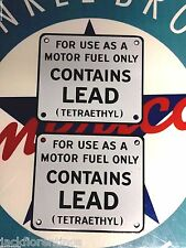 "classic ""CONTAINS LEAD"" set of 2 - gas pump PORCELAIN COATED metal signs"