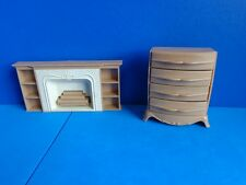 VINTAGE DOLLHOUSE PLASTIC FURNITURE FIREPLACE & CHEST-