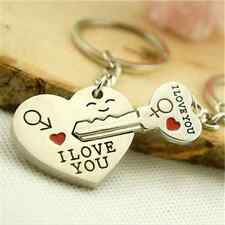 New Silver Valentine's Day Lover Love Couple Gift Heart Key Keychain Keyring Set
