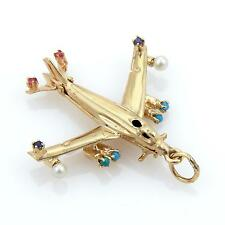 Estate 14k Yellow Gold Turquoise Sapphire Ruby & Pearls Airplane Pendant