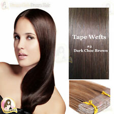"BEST QUALITY! 24"" Indina Remy Tape/Skin Weft Dark choc brown colour #2 20pcs 50g"