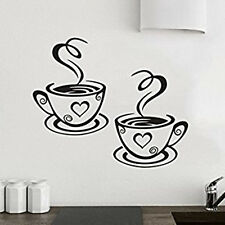 2 Coffee Cups Kitchen Tea Wall Sticker Decals Art Restaurant Pub Home Decor Love