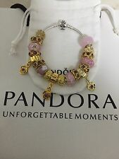 AUTHENTIC PANDORA BRACELET WITH 18K Gold Plated European Charms & Morano Beads