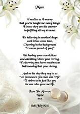 Wedding Day Thank You Gift, Mother Of The Bride or Groom Poem A4 Photo