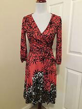 Diane von Furstenberg Suzelly coral  silk wrap dress US 6