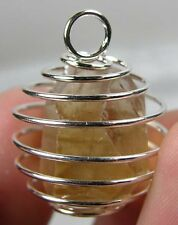Pakistan 100% Rough Raw imperial Topaz Crystal Specimen in Spiral Cage Pendant