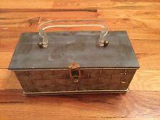 Vintage Gray Box Basket Weave Lucite Handle Purse Handbag
