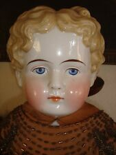 OLD RARE ANTIQUE 1800s CHINA HEAD GIRL DOLL UNUSUAL BLONDE CURLY HAIR STYLE 29""