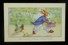 1910s? Easter Greetings Funny Dressed Rabbit Stealing Eggs Pissed Hen and Chick