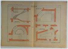Tavola Architettura Anni 50 - Scale - Vintage Architectural Drawing - Stairs