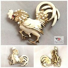 Vintage White Rooster Brooch With Cabochons And Ruby Rhinestone Eye Scatter Pin