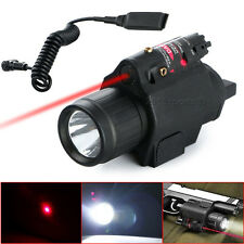 Tactical LED Flashlight + Red Laser Sight Picatinny Weaver Rail For Glock Pistol
