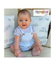 2 PDF DIGITAL PATTERNs+Youtube TUTORIAL sewing NEWBORN Baby BLOUSE+DUNGAREES SET