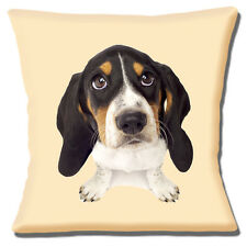 "BEAGLE PUPPY CLOSE UP LOOKING UP PHOTOPRINT ON CREAM 16"" Pillow Cushion Cover"