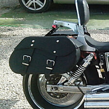 MOTORCYCLE BLACK LEATHER SADDLEBAGS PANNIERS Harley Davidson Softail Fatboy C12A