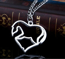 1p Silver Love Heart Horse Silhouette Charms Necklace Chain Fashion Jewlery Gift