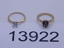 Vintage Jewelry LOT OF 2 Rings GOLD TONE RHINESTONES 13922