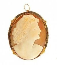 Estate 1930 14k Yellow Gold Shell Coral Heart Cameo Oval Pendant Woman Profile