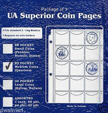 Pkg of 3 Superior 63 Pocket Coin Pages, Medium Coins (Quarters) Money Collection