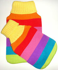 TWO FOR THE PRICE OF ONE, CHEERIEST RAINBOW HOT WATER BOTTLE COVER, LARGE & MED
