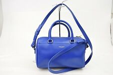 Authentic Saint Laurent Paris Hand Bag classic baby duffel Blue Leather 10324