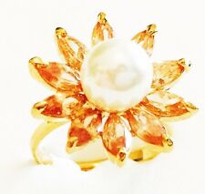 USA RING use Swarovski Crystal Adjustable one Size 18K Gold plated Pearl flower