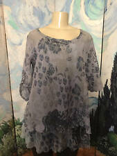INDIGO THREAD CO. NEW L BLUE FLORAL LAYERED MESH RUFFLE 3/4 TAB SLEEVE TUNIC TOP
