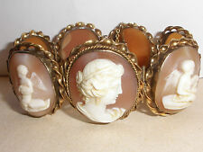 18K GOLD Exquisite antique Victorian 7 cameo angels putti woman scenes bracelet