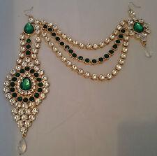 BELLISSIMO accessorio per capelli verde gioielli/Copricapo/Hijab Matha Patti// Da Sposa