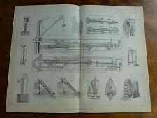 1874 gravure-hydraulique-crane, presse avec des gerbes d'eau grues